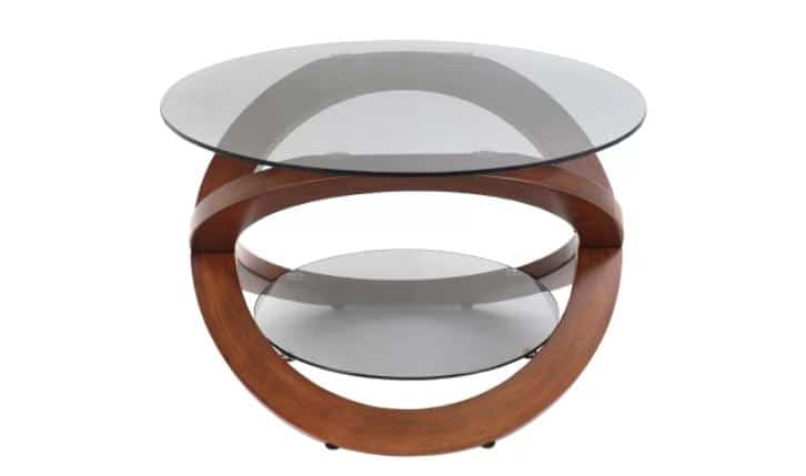 Wood and glass coffee table with an artistic and unique finish.