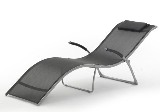 Aluminum outdoor chaise lounge with a cushion backrest.