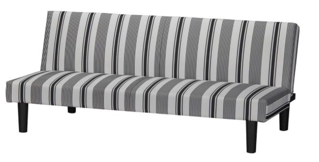 Futon set with b;lack and gray detailed stripes.