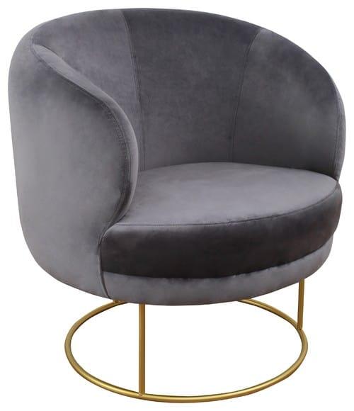 Velvet gray club chair with a circular shape.
