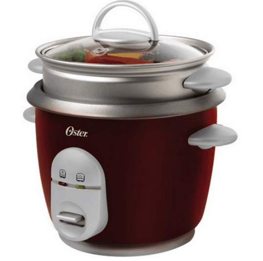 Red 6-cup rice cooker and steamer.