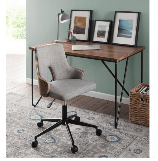 Adjustable fabric office chair.