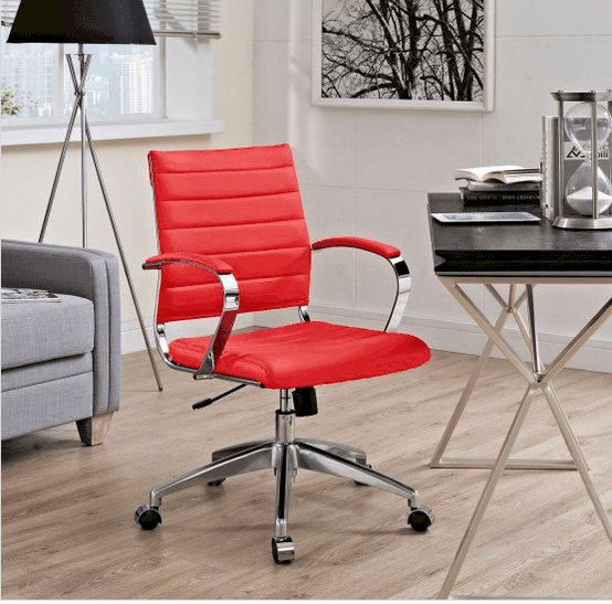 Mid-back office chair with ribbed vinyl.