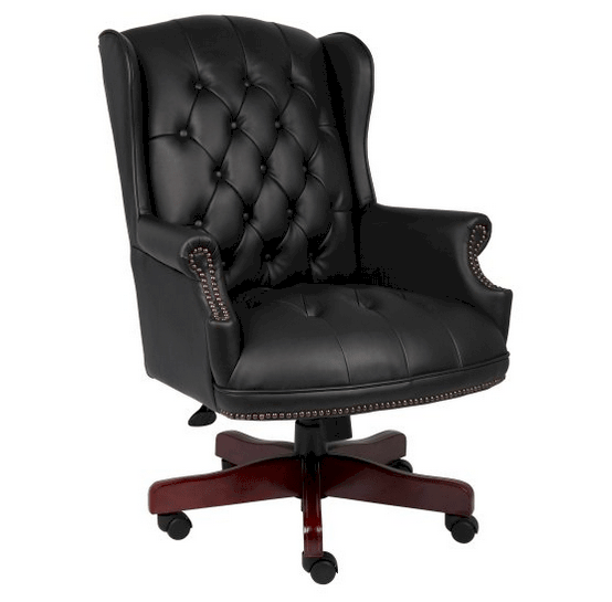 Traditional desk chair with classic traditional button tufted style.