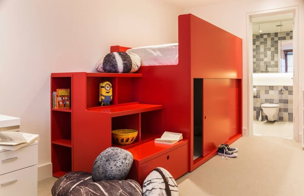 Contemporary Kids Bedroom With Red Bed Frame And Shelves Combo. Photo  Credit: Photography / Styling : Rick Mccullagh / LLI DesignLLI Design