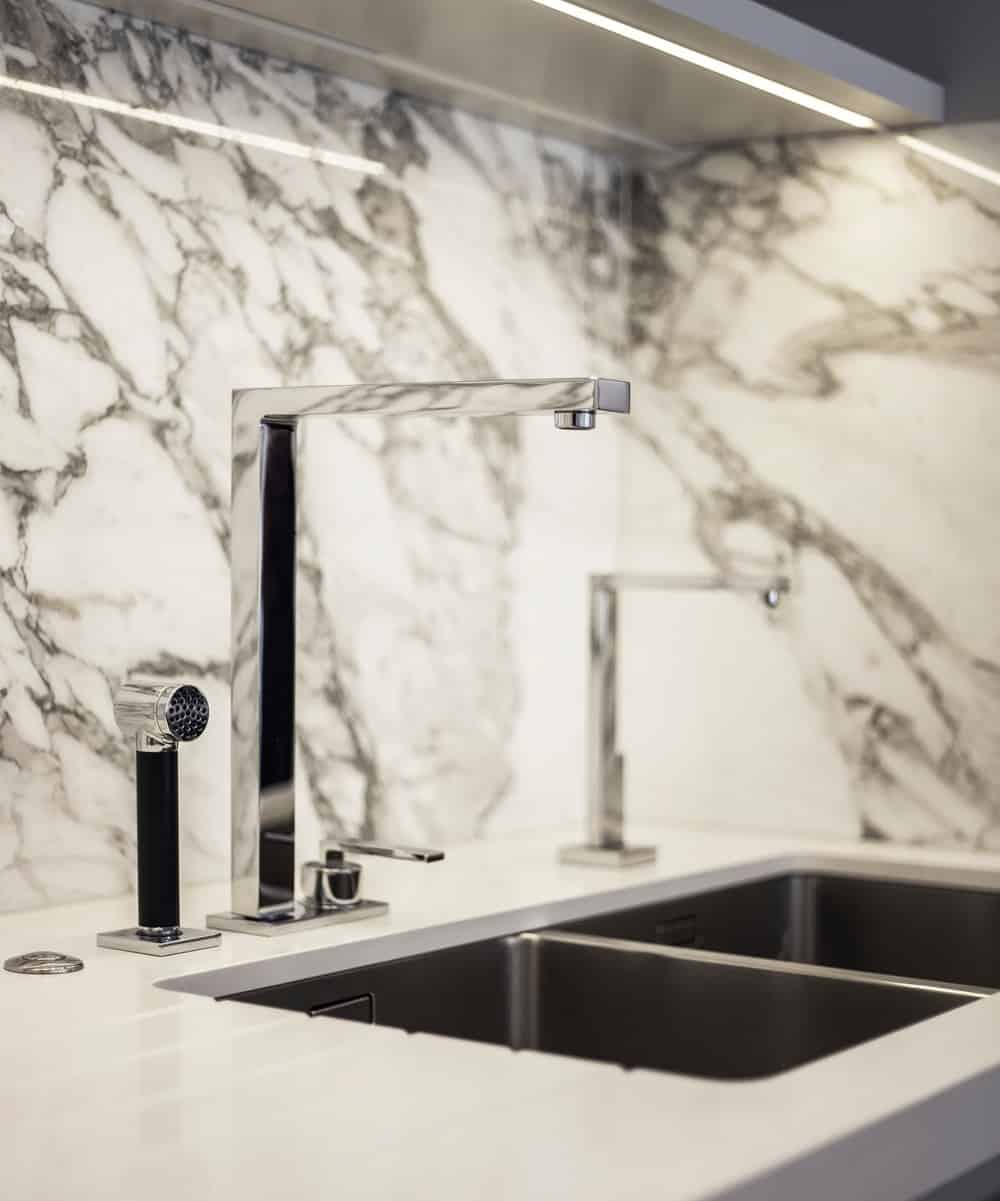 Stylish marble sink of contemporary kitchen. Photo credit: Photography / Styling : Rick Mccullagh / LLI Design