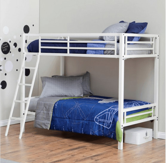 White bunk bed with metal frame.