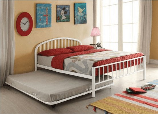 Trundle bed with metal tube construction.