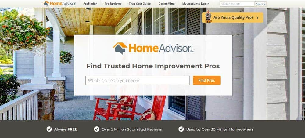 HomeAdvisor's main page on its site connecting homeowners with home improvement professionals