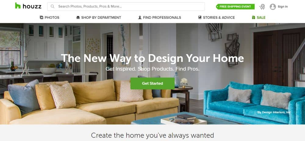 The official website of Houzz as an alternative to Angie's List