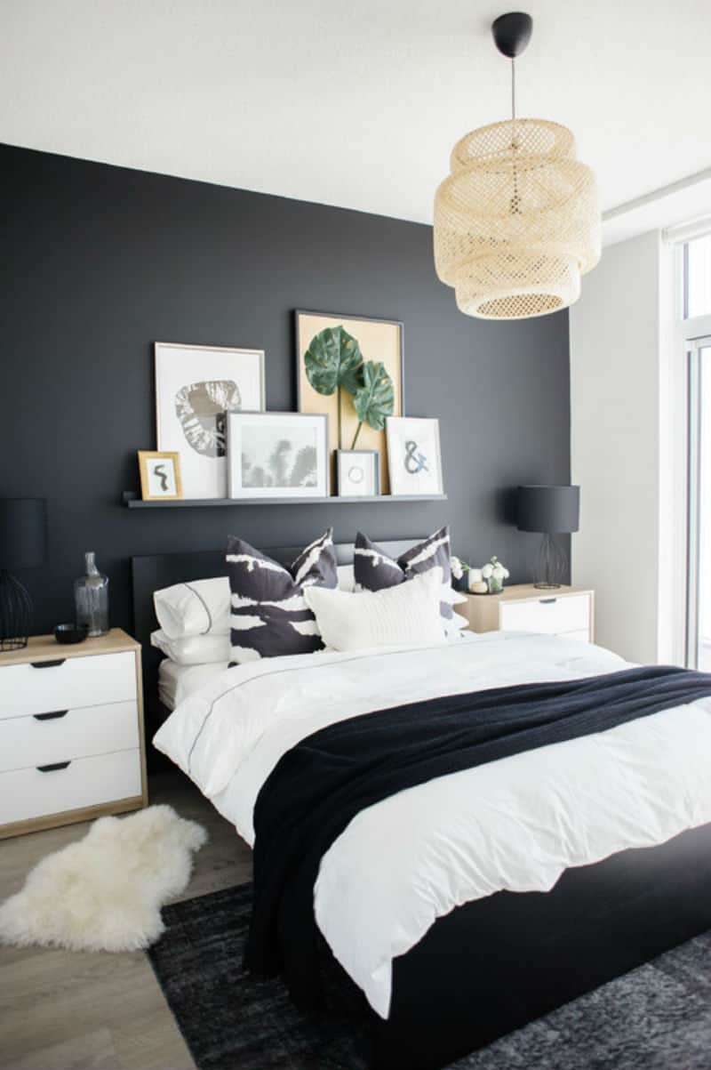 Contemporary bedroom with touches of beige and black.