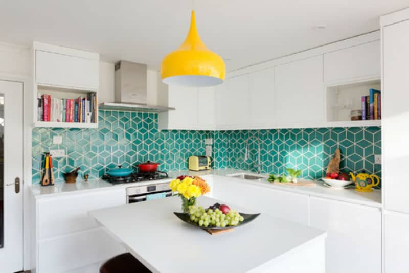 Contemporary kitchen with touches of green and yellow.