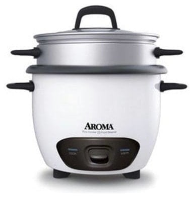 Dishwasher-safe cup rice cooker and steamer.
