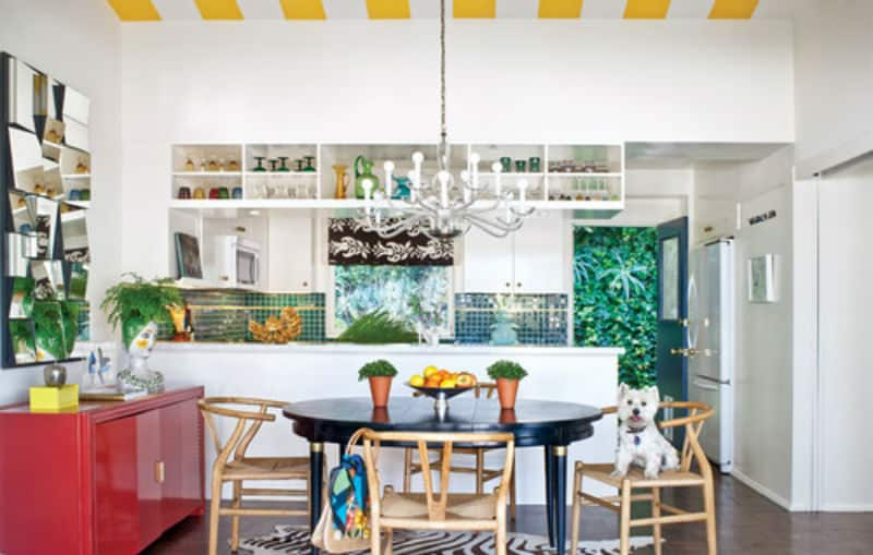 Eclectic kitchen with touches of green, blue, red, brown, and yellow.