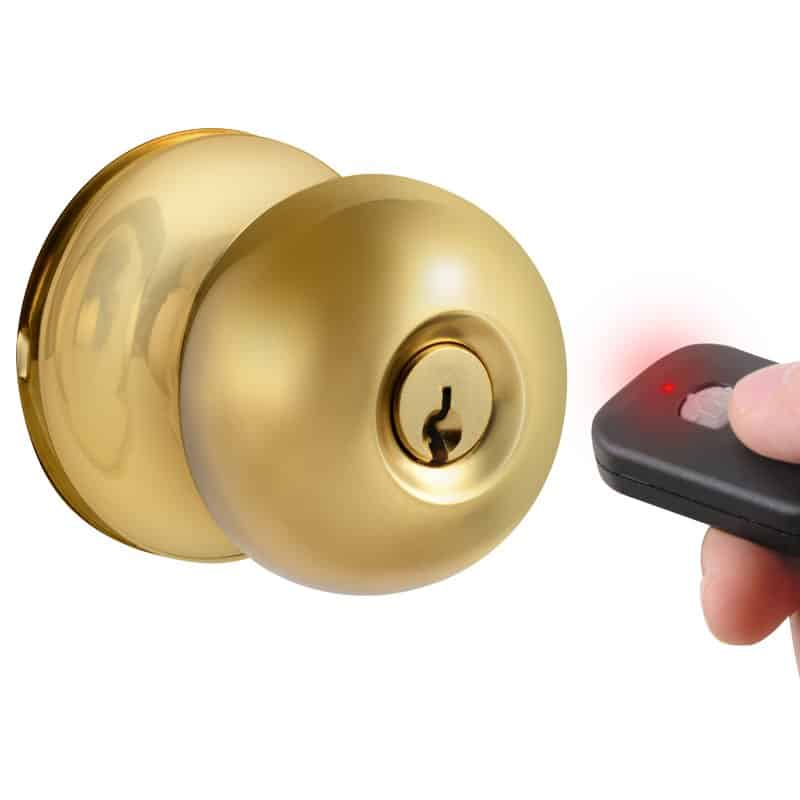 Remote control keyless electronic door knob.