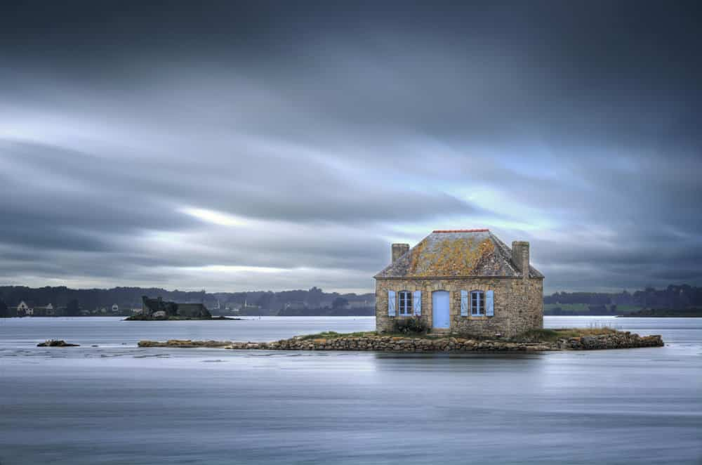 House isolated on small island in Britanny, France