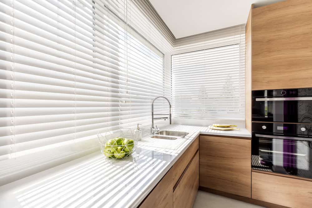 Kitchen window with blinds