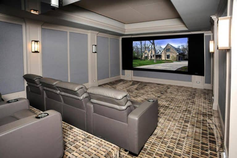 Perfect Side View Of Incredible Modern Home Theater With Stadium Seating.Listed By:  DouglasElliman Real Estate Source: Zillow Digs