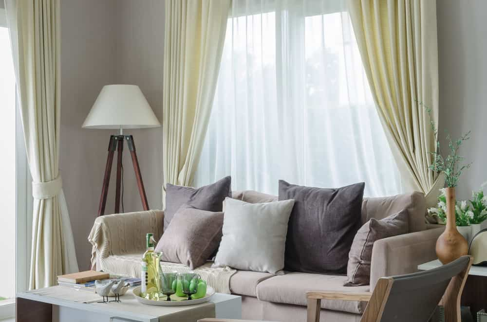 Living room window with curtains