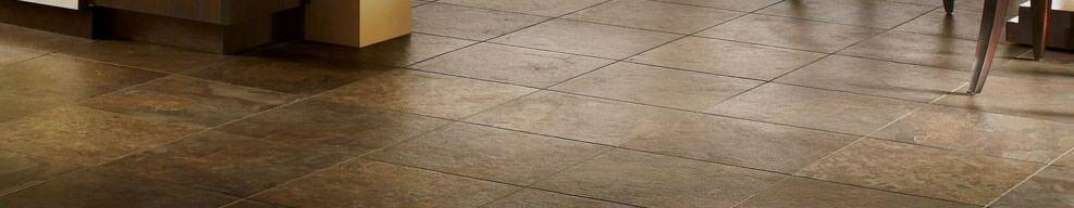 Photo of brown vinyl tile flooring