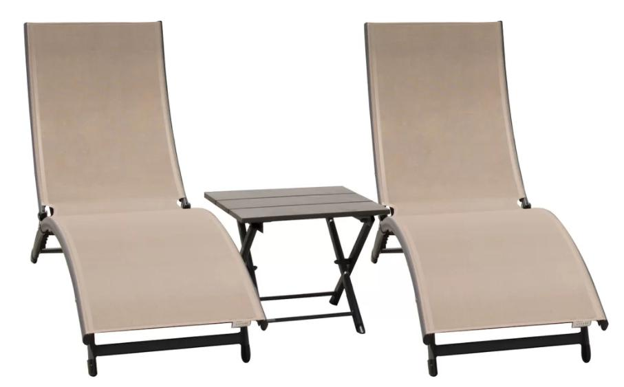 Chaise lounge set with table in a Machiatto tone.