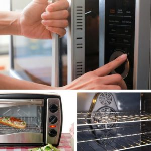Photo collage of microwave oven, toaster oven and convection oven.