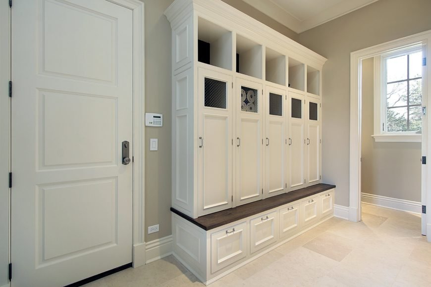 White mudroom in new construction home.