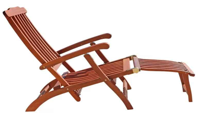 Wooden chaise lounge with a smooth and glossy finish.
