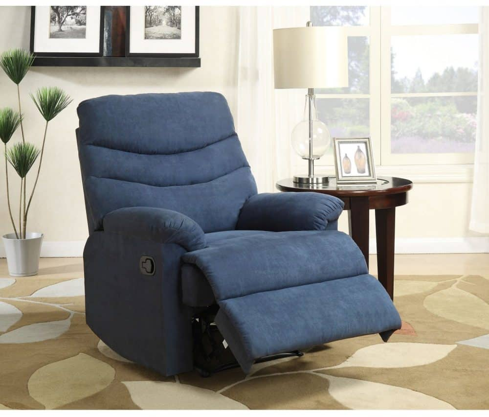 Push-back recliner in Navy Blue with an overstuffed design.