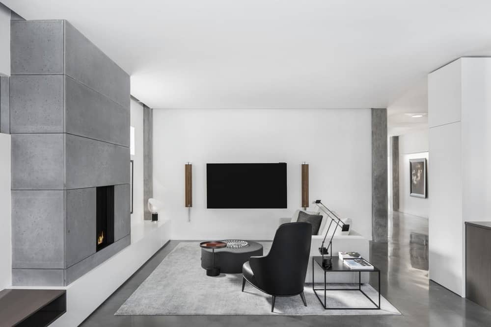 Contemporary living room with stylish gray fireplace matching the rug.