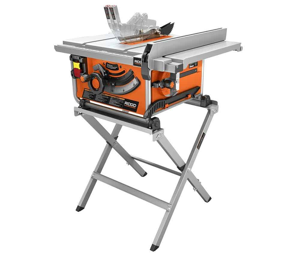 Compact table saw with a stand.