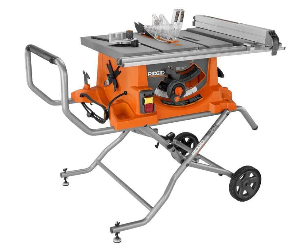 Heavy-duty but portable table saw with stand.