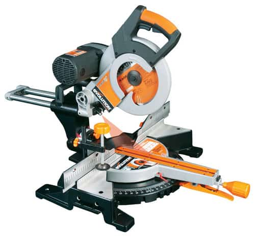 Orange sliding miter saw with blade.