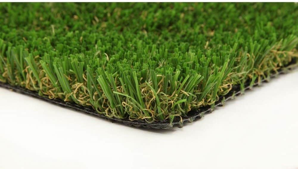Synthetic grass with non-absorbent fibers.