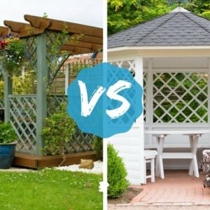 Pergola vs. Gazebo image comparing the two outdoor structures
