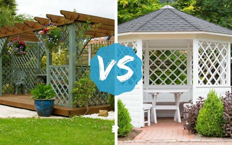 Pergola vs. Gazebo image comparing the two outdoor structures - Pergola Vs. Gazebo: Pros And Cons Listed - What's Best For Your Yard?
