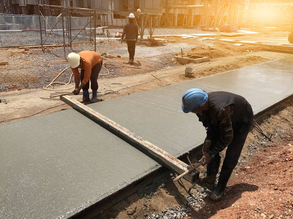 Poured Concrete driveway under construction.
