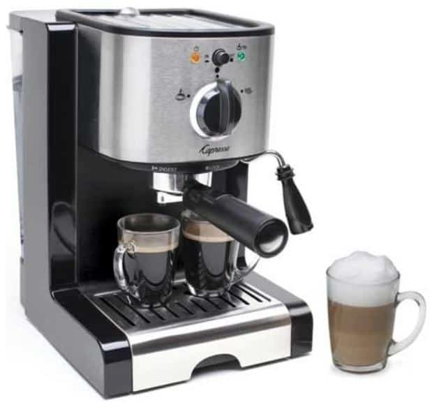 Stainless steel espresso machine with a thermal block heating system.