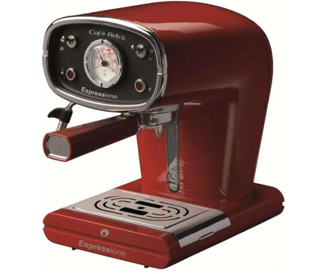 Retro-style, red espresso machine.