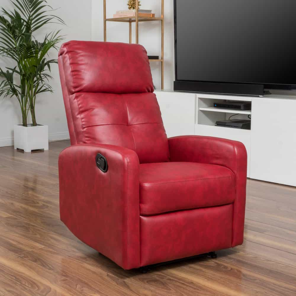 Red slim and tall-back recliner covered with faux leather.
