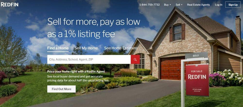 Redfin's home page.