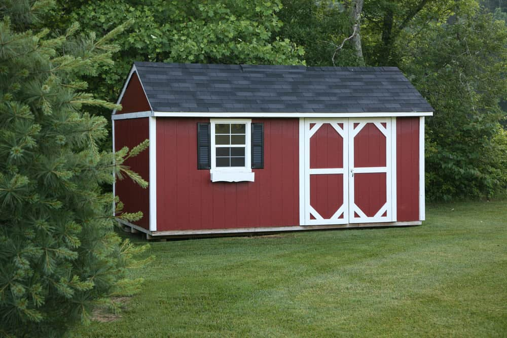 Shed with shutters on window