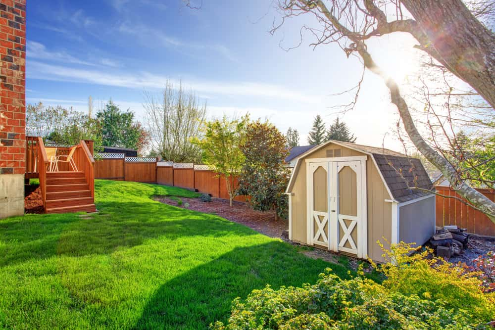 Backyard shed with gambrel roof
