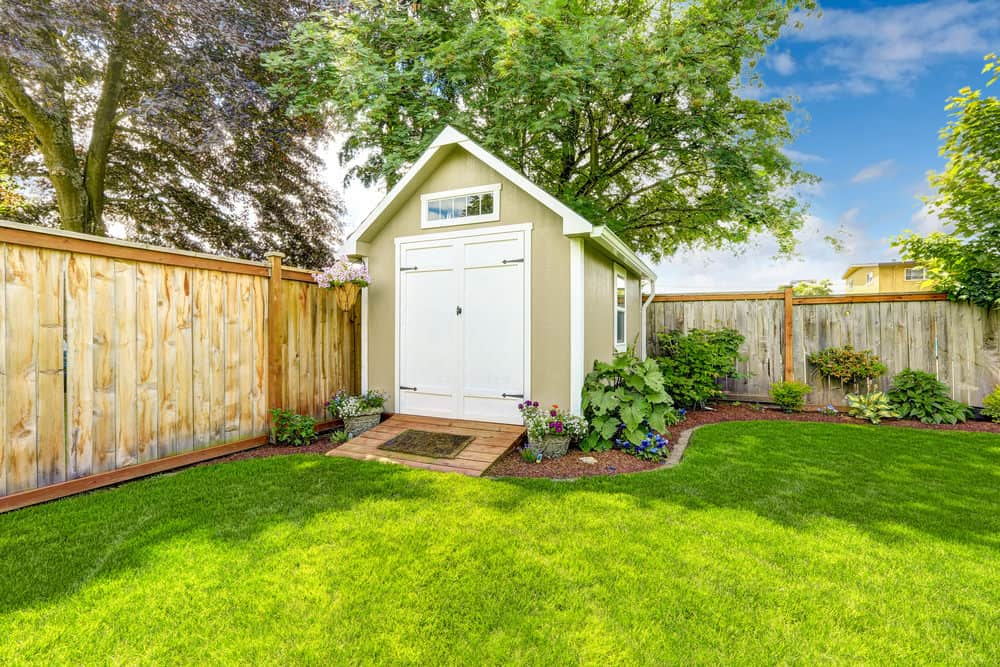 Backyard shed with door on end