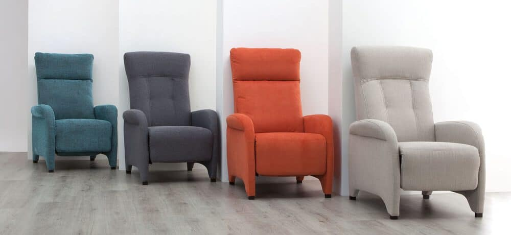 A set of reclining chairs in multiple colors.