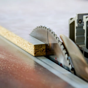 Close-up shot of a functional table saw.