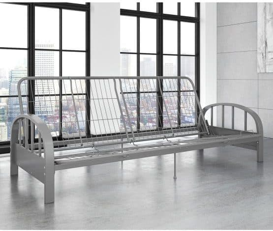 Sturdy metal futon frame in a Silver finish.
