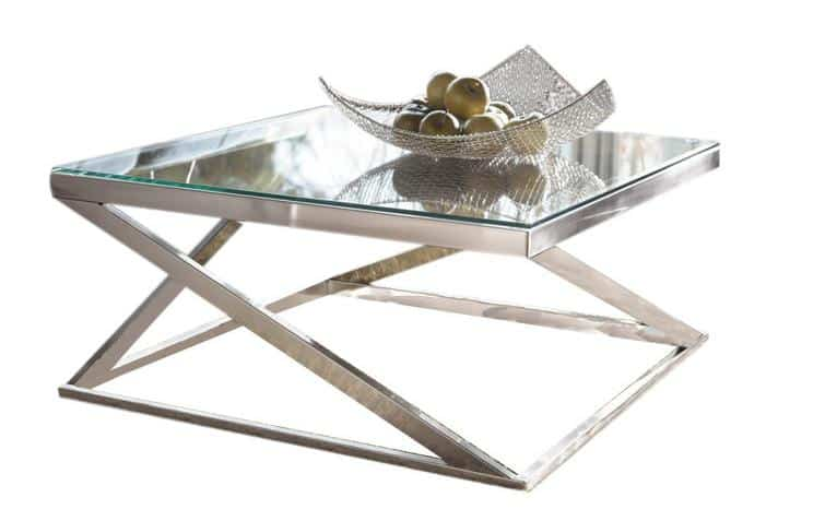 Sleek, square-shaped nickle coffee table.