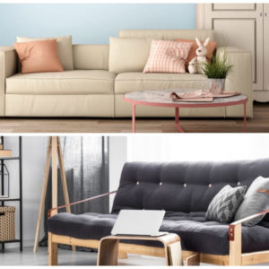 Comparison of a sofa bed and a futon.