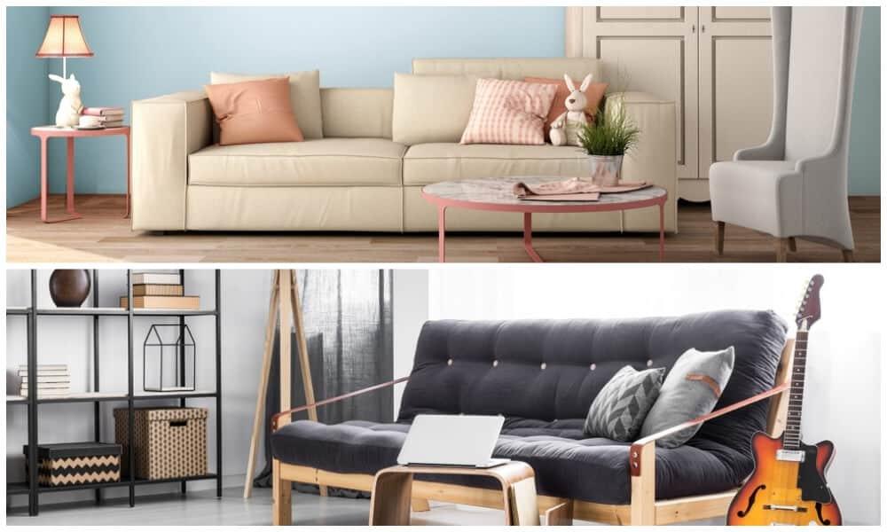 Comparison of a sofa bed and a futon.
